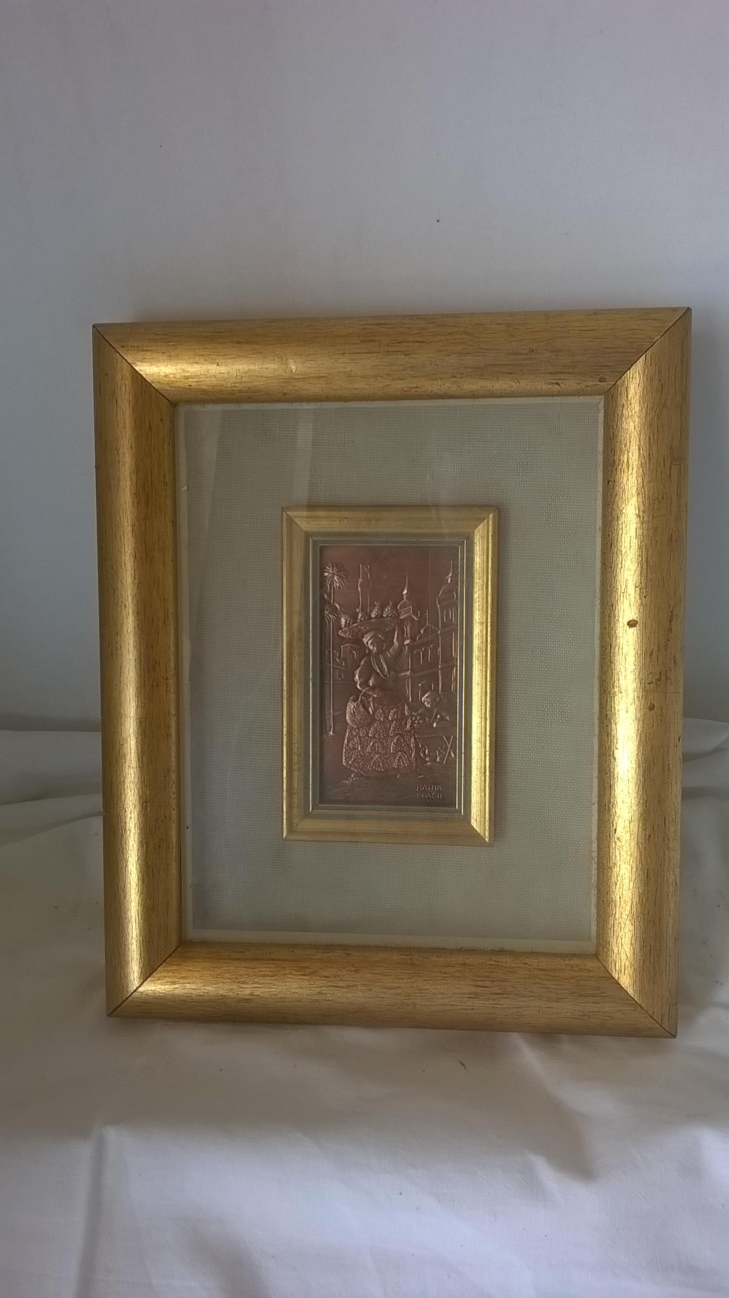 Quadro vintage con cornice in legno dorato a foglia d 39 oro for Cornice per quadro